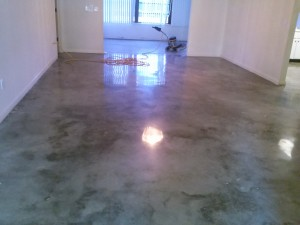 Polished Concrete in a home, Fort Myers. Black and Grey dye was added,